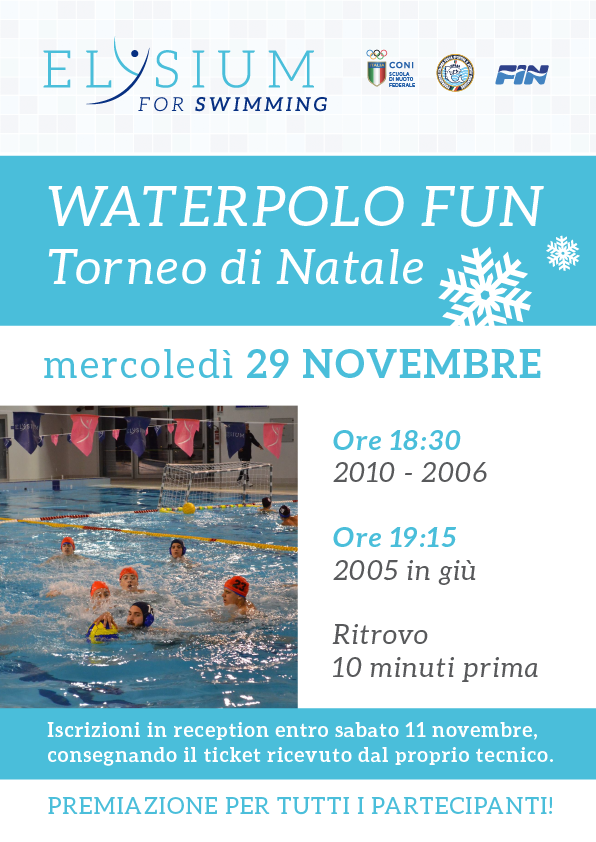Waterpolo fun <br> Torneo di Natale <br>29/11/2017