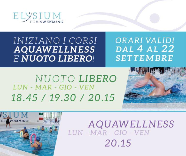 Iniziano i corsi di <br> Aquawellnees <br>e Nuoto libero